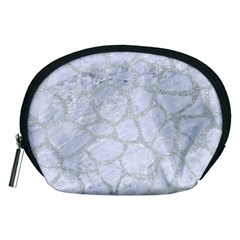 Skin1 White Marble & Silver Glitter Accessory Pouches (medium)  by trendistuff