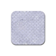 Scales3 White Marble & Silver Glitter (r) Rubber Square Coaster (4 Pack)  by trendistuff