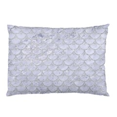 Scales3 White Marble & Silver Glitter (r) Pillow Case by trendistuff
