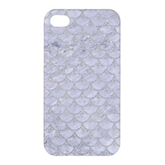 Scales3 White Marble & Silver Glitter (r) Apple Iphone 4/4s Hardshell Case by trendistuff