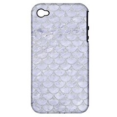 Scales3 White Marble & Silver Glitter (r) Apple Iphone 4/4s Hardshell Case (pc+silicone) by trendistuff