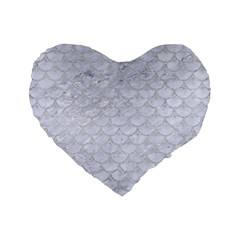 Scales3 White Marble & Silver Glitter (r) Standard 16  Premium Flano Heart Shape Cushions by trendistuff
