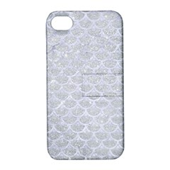 Scales3 White Marble & Silver Glitter Apple Iphone 4/4s Hardshell Case With Stand by trendistuff
