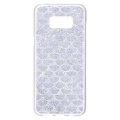 Scales3 White Marble & Silver Glitter Samsung Galaxy S8 Plus White Seamless Case by trendistuff