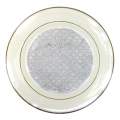 Scales2 White Marble & Silver Glitter (r) Porcelain Plates
