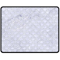 Scales2 White Marble & Silver Glitter (r) Double Sided Fleece Blanket (medium)  by trendistuff