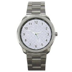 Scales2 White Marble & Silver Glitter Sport Metal Watch by trendistuff
