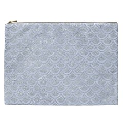 Scales2 White Marble & Silver Glitter Cosmetic Bag (xxl)  by trendistuff