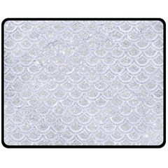 Scales2 White Marble & Silver Glitter Double Sided Fleece Blanket (medium)  by trendistuff