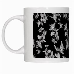 Dark Orquideas Floral Pattern Print White Mugs by dflcprints