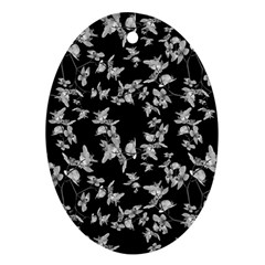Dark Orquideas Floral Pattern Print Oval Ornament (two Sides) by dflcprints
