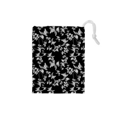 Dark Orquideas Floral Pattern Print Drawstring Pouches (small)  by dflcprints