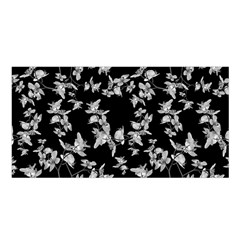 Dark Orquideas Floral Pattern Print Satin Shawl by dflcprints
