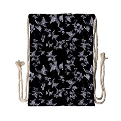 Dark Orquideas Floral Pattern Print Drawstring Bag (small) by dflcprints