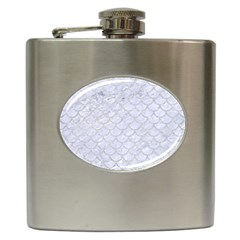 Scales1 White Marble & Silver Glitter (r) Hip Flask (6 Oz) by trendistuff
