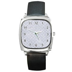 Scales1 White Marble & Silver Glitter Square Metal Watch by trendistuff