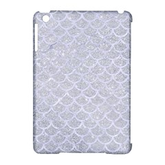 Scales1 White Marble & Silver Glitter Apple Ipad Mini Hardshell Case (compatible With Smart Cover) by trendistuff