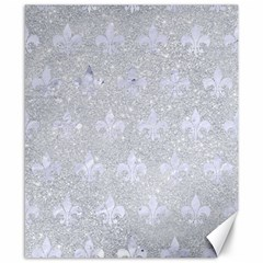 Royal1 White Marble & Silver Glitter (r) Canvas 8  X 10  by trendistuff