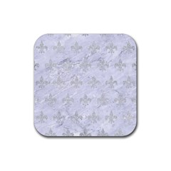 Royal1 White Marble & Silver Glitter Rubber Square Coaster (4 Pack)  by trendistuff