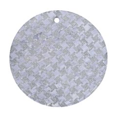 Houndstooth2 White Marble & Silver Glitter Round Ornament (two Sides) by trendistuff