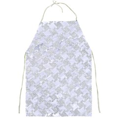 Houndstooth2 White Marble & Silver Glitter Full Print Aprons by trendistuff