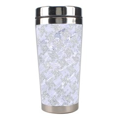 Houndstooth2 White Marble & Silver Glitter Stainless Steel Travel Tumblers by trendistuff