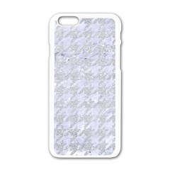 Houndstooth1 White Marble & Silver Glitter Apple Iphone 6/6s White Enamel Case by trendistuff