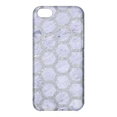 Hexagon2 White Marble & Silver Glitter (r) Apple Iphone 5c Hardshell Case by trendistuff