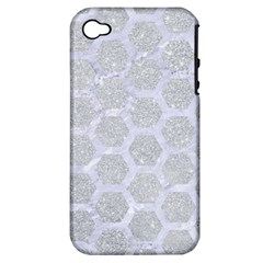 Hexagon2 White Marble & Silver Glitter Apple Iphone 4/4s Hardshell Case (pc+silicone) by trendistuff