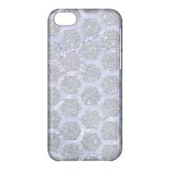 Hexagon2 White Marble & Silver Glitter Apple Iphone 5c Hardshell Case