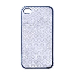 Hexagon1 White Marble & Silver Glitter (r) Apple Iphone 4 Case (black) by trendistuff