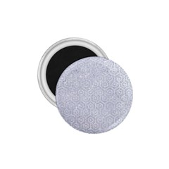 Hexagon1 White Marble & Silver Glitter 1 75  Magnets by trendistuff