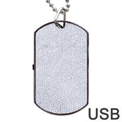 Hexagon1 White Marble & Silver Glitter Dog Tag Usb Flash (one Side) by trendistuff
