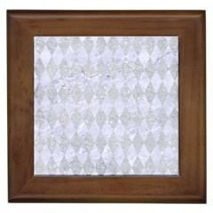 Diamond1 White Marble & Silver Glitter Framed Tiles