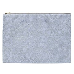 Damask2 White Marble & Silver Glitter (r) Cosmetic Bag (xxl)  by trendistuff