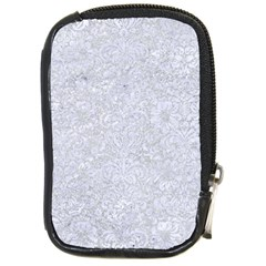 Damask2 White Marble & Silver Glitter Compact Camera Cases by trendistuff
