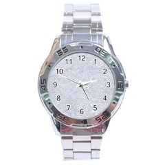 Damask2 White Marble & Silver Glitter Stainless Steel Analogue Watch by trendistuff