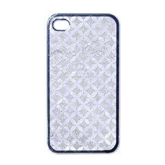 Circles3 White Marble & Silver Glitter Apple Iphone 4 Case (black) by trendistuff
