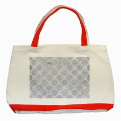 Circles2 White Marble & Silver Glitter (r) Classic Tote Bag (red) by trendistuff