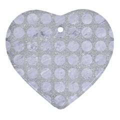 Circles1 White Marble & Silver Glitter Ornament (heart) by trendistuff
