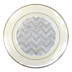 Chevron9 White Marble & Silver Glitter (r) Porcelain Plates by trendistuff
