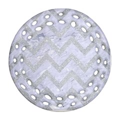 Chevron9 White Marble & Silver Glitter (r) Ornament (round Filigree) by trendistuff