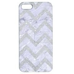 Chevron9 White Marble & Silver Glitter (r) Apple Iphone 5 Hardshell Case With Stand