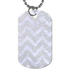 Chevron9 White Marble & Silver Glitter Dog Tag (two Sides) by trendistuff