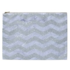 Chevron3 White Marble & Silver Glitter Cosmetic Bag (xxl)  by trendistuff