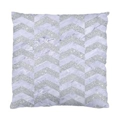 Chevron2 White Marble & Silver Glitter Standard Cushion Case (one Side) by trendistuff