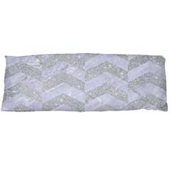 Chevron2 White Marble & Silver Glitter Body Pillow Case (dakimakura) by trendistuff