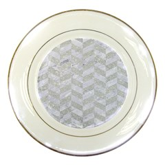 Chevron1 White Marble & Silver Glitter Porcelain Plates by trendistuff