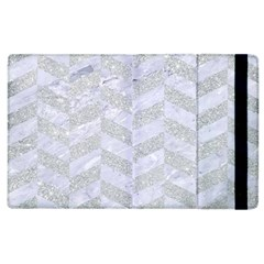 Chevron1 White Marble & Silver Glitter Apple Ipad 3/4 Flip Case by trendistuff