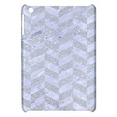 Chevron1 White Marble & Silver Glitter Apple Ipad Mini Hardshell Case by trendistuff